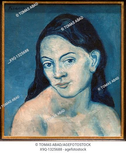 Head of a Woman, 1903, by Pablo Picasso, Spanish, Oil on canvas 15 7/8 x 14in  40 3 x 35 6cm 22 1/4 x 20 x 2 1/4 in , Metropolitan Museum of Art, New York City