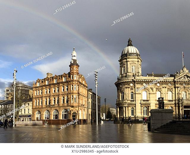 Rainbow over Queen Victoria Square in Hull Yorkshire England
