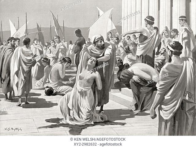 The Greek slave market at Phanagoria. After the painting by W. S. Bagdatopoulus, (1888-1965). From Hutchinson's History of the Nations, published 1915
