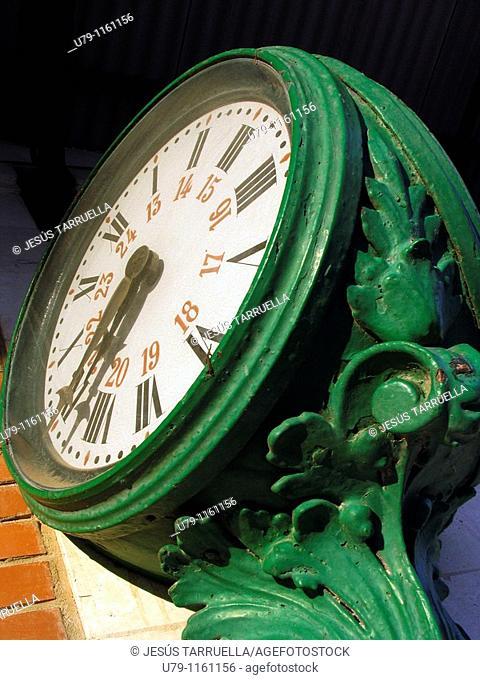 Clock on the platform of the station Ferrocarril de Villena. Alicante. Valencia. Spain. Europe