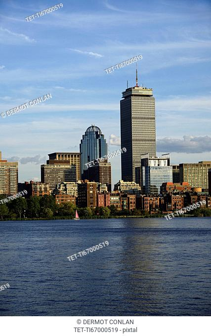 Massachusetts, Boston, Back Bay, Urban scene with Charles river and Cosplay Square