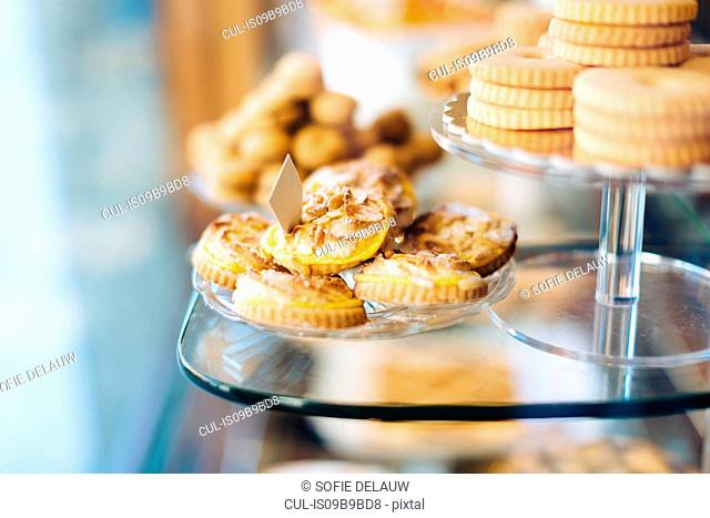 Biscuits on display in bakery window