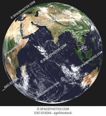 Earth in Space, one can see Australia, Asia, Thailand, Indonesia, China, India, the Indian Ocean, Saudi Arabia, Africa, and a few clouds