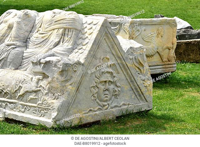 Sarcophagi, Manastirine necropolis, Salona, Solin, Croatia. Paleo-Christian civilization