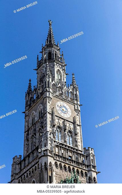 City hall tower, detail, City hall, Marienplatz, Munich, Bavaria, Germany