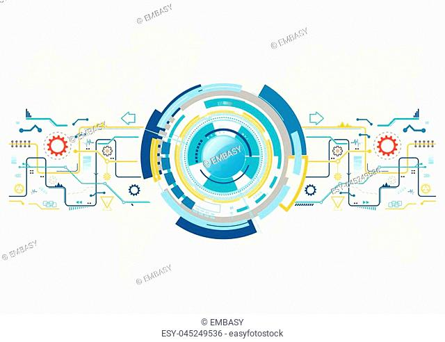 Abstract technological background with various technological elements. Structure pattern technology backdrop. Vector illustrator