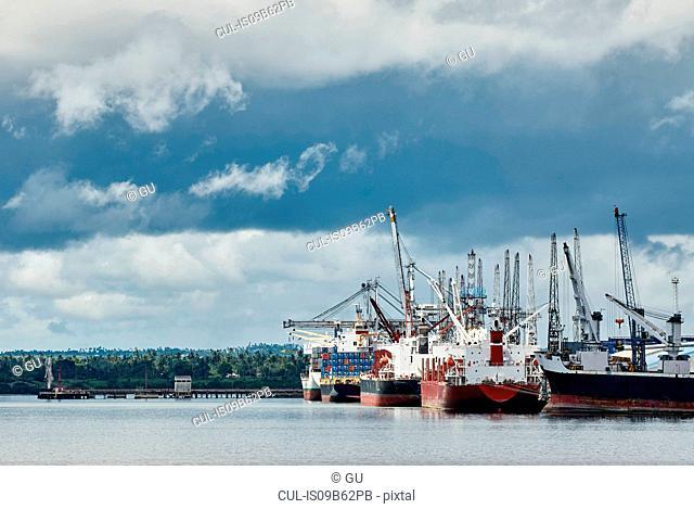 Cargo ship in harbour, Zanzibar, Zanzibar Urban, Tanzania, Africa