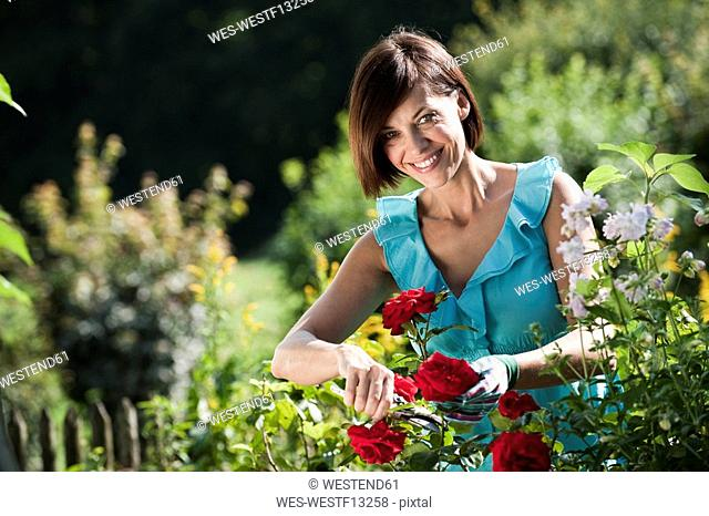Germany, Bavaria, Woman pruning flowers in garden