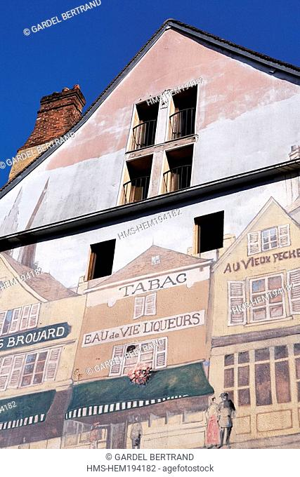 France, Eure et Loir, Chartres, painted wall in the old town