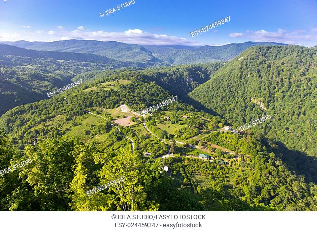 Village in highlands aerial view landscape mountains, Abkhazia, Caucasus mountains
