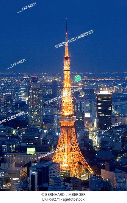City view and Tokyo Tower at night, Roppongi Hills, Tokyo, Japan, Asia