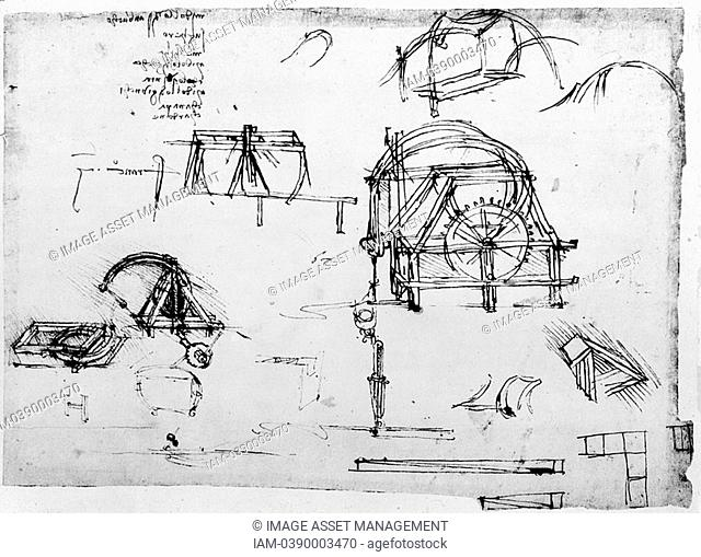 LEONARDO da Vinci 1452-1519: sketch for a perpetual motion device  Biblioteca Ambrosiana, Milan