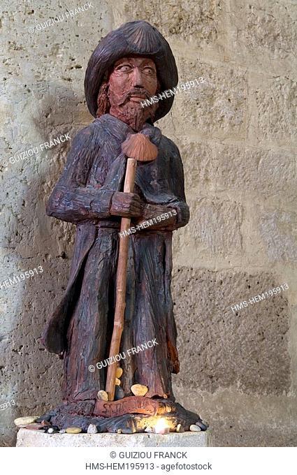 France, Gers, La Lomagne region, Miradoux, stop on el Camino de Santiago, Saint James statue in Saint Orens Church