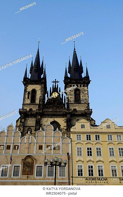 The towers of Virgin Mary Before Tyn Church, Prague, Czech republic