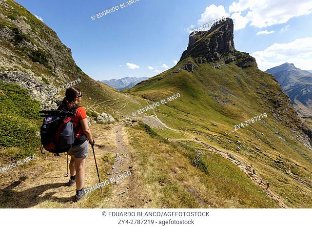 Women hiking, Ayous lakes route, Pyrenees mountains, France, Europe