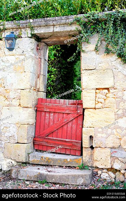 Wooden door of a private property