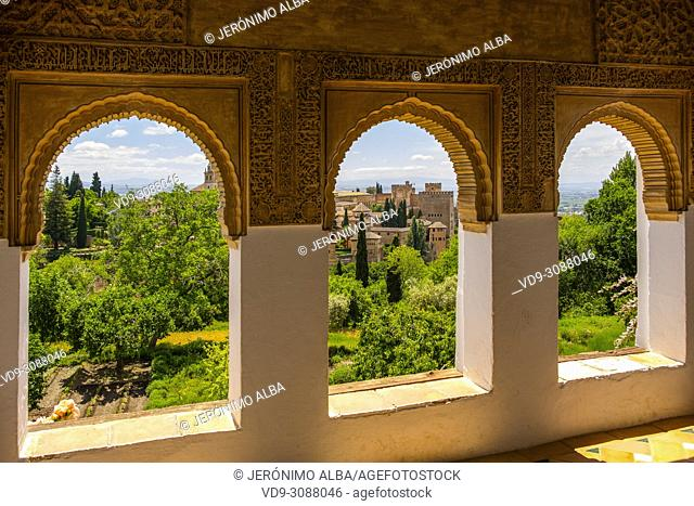 Gardens and panoramic view from Generalife Palace. Alhambra, UNESCO World Heritage Site. Granada City. Andalusia, Southern Spain Europe