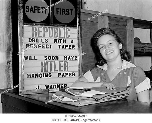 Female Factory Worker at Drill and Tool Plant that Manufactures Drills for use in all War Production Industries, Republic Drill and Tool Company, Chicago