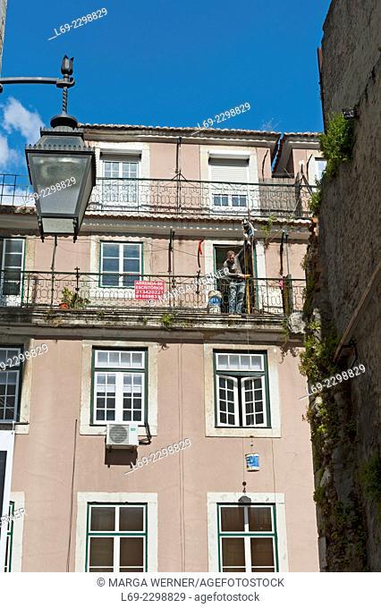 Architecture in the city ob Lisbon, District Baixa, Chiado, Portugal, Europe