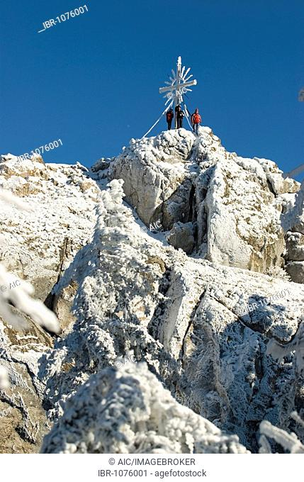 Group of mountain climbers at the cross on the Steinerner Jaeger Peak of Mount Schieferstein, Reichraming, Upper Austria