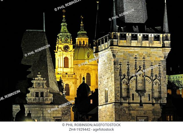 Prague, Czech Republic. Prague at night. Charles Bridge and St Nicholas Church