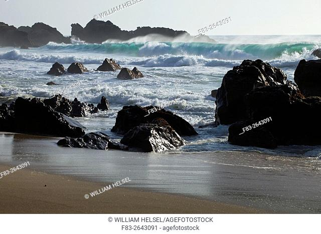 Garrapata Beach State Park, Big Sur, California, USA, surf and rocks
