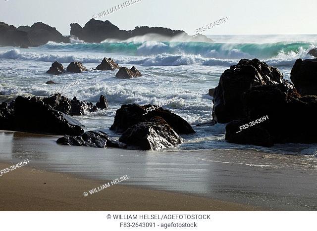 Garrapata Beach State Park, Big Sur, California, USA, surf and rocks