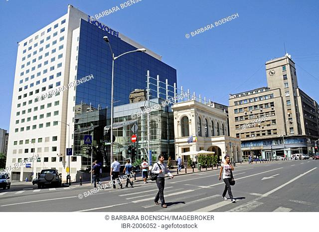 Novotel Hotel, multistorey building, street scene, Bucharest, Romania, Eastern Europe, Europe, PublicGround