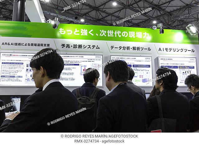 Visitors gather during the 3rd Artificial Intelligence Exhibition and Conference (AI EXPO Tokyo 2019) in Tokyo BigSight on April 03, 2019, Tokyo, Japan