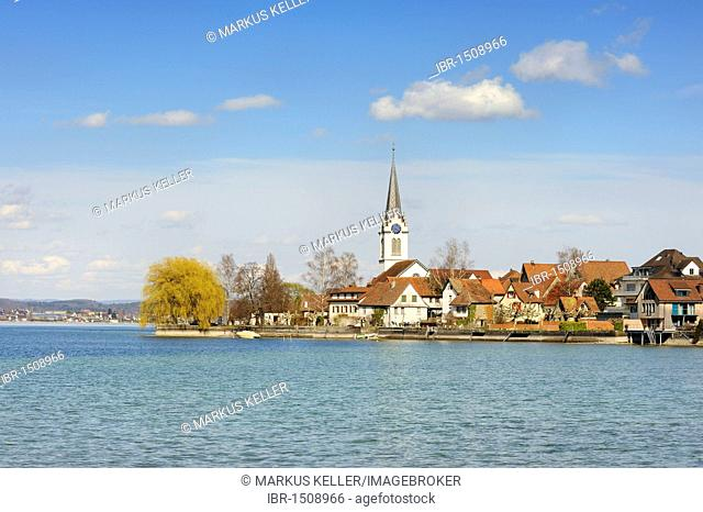 View over Lake Constance on Berlingen, Canton Thurgau, Switzerland, Europe