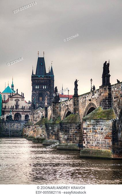 Charles bridge in Prague early in the morning
