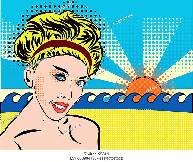 Blond smiley girl relax on the beach. Bohemian retro chic lady in pop art style. Portrait of a girl blonde with curvy retro hairstyle, silhouette with shoulders