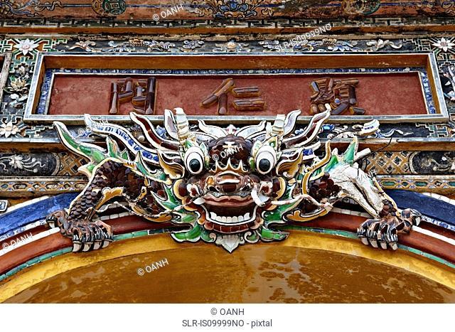 Dragon head at Hien Nhan Gate, Hue, Vietnam