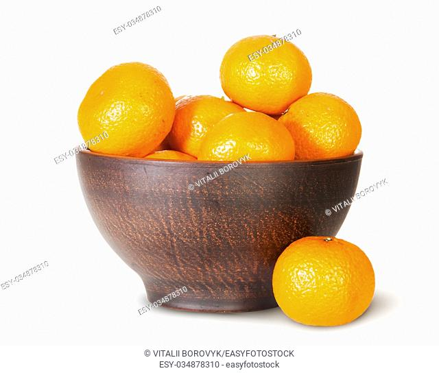 Tangerines In A Ceramic Bowl And One Near Isolated On White Background