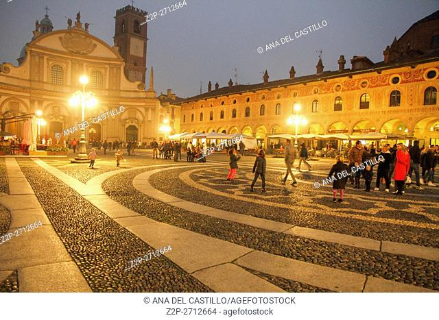 Vigevano, Lombardy (Northern Italy, Province of Pavia), panorama of the world wide famous renaissance Piazza Ducale