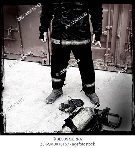 Fireman in action. Madrid. Spain