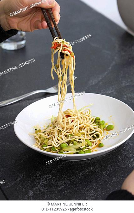 Asian Noodles with Chili Oil and Edamame