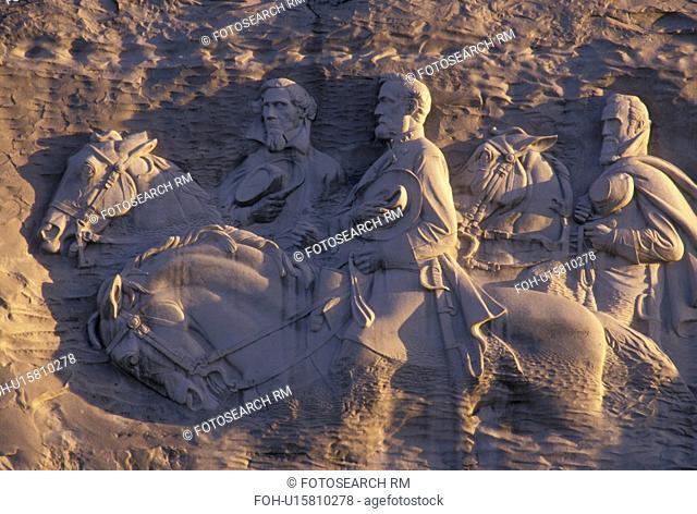 Stone Mountain, Atlanta, GA, Georgia, The Confederate Memorial Carving of President Jefferson Davis, General Thomas Stonewall Jackson and General Robert E