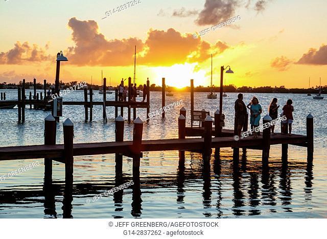 Florida, Upper Florida Keys, Key Largo, waterfront, piers, sunset, Buttonwood Sound, Florida Bay, water