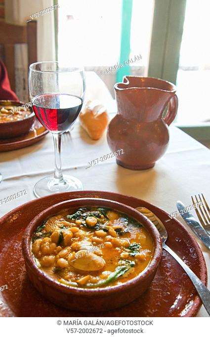 Potaje de vigilia in a typical restaurant. Chinchon, Madrid province, Spain