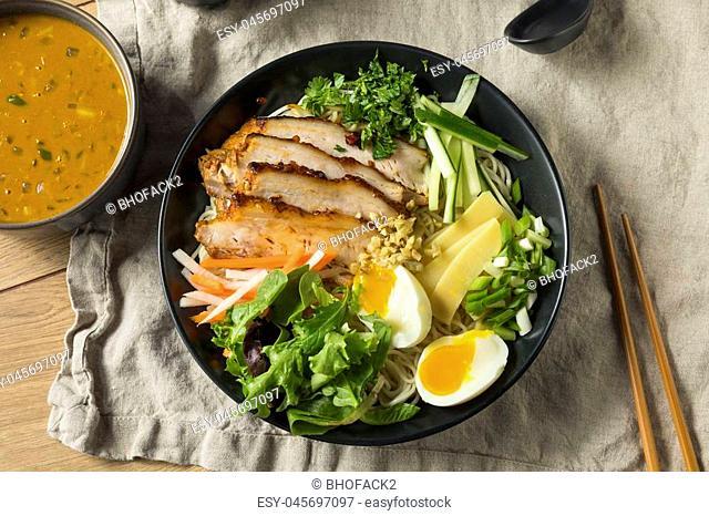 Homemade No Broth Mazemen Ramen with Pork Belly and Veggies