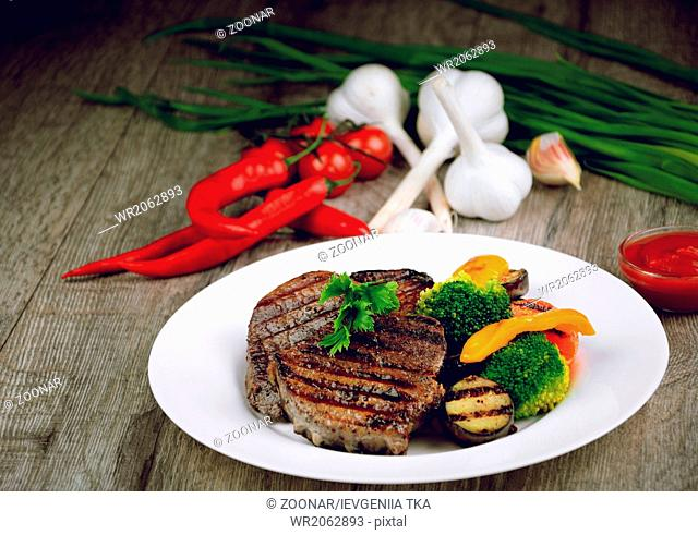 Delicious grilled beef steakes