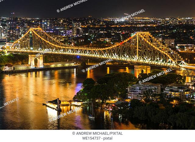 Story Bridge lit up after dark, Brisbane, Australia