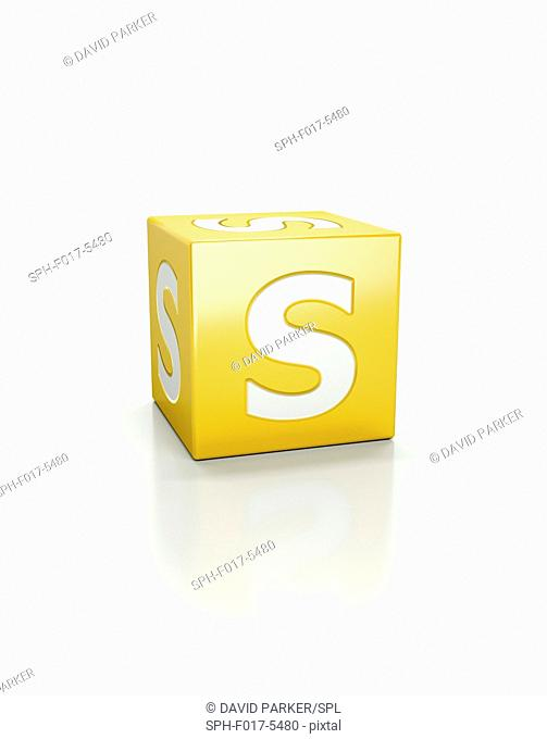Yellow cube with letter S