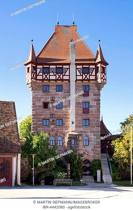 Scots Tower in Burg Abenberg, Franconian Lake District, Middle Franconia, Franconia, Bavaria, Germany