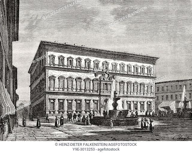 Palazzo Farnese, Piazza Farnese, Rome, Italy, 19th Century