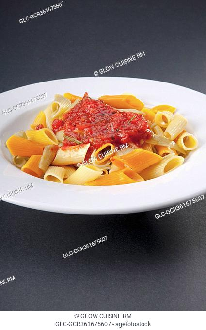 Close-up of rigatoni pasta topped with tomato concasse
