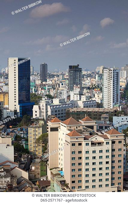 Vietnam, Ho Chi Minh City, elevated skyline view