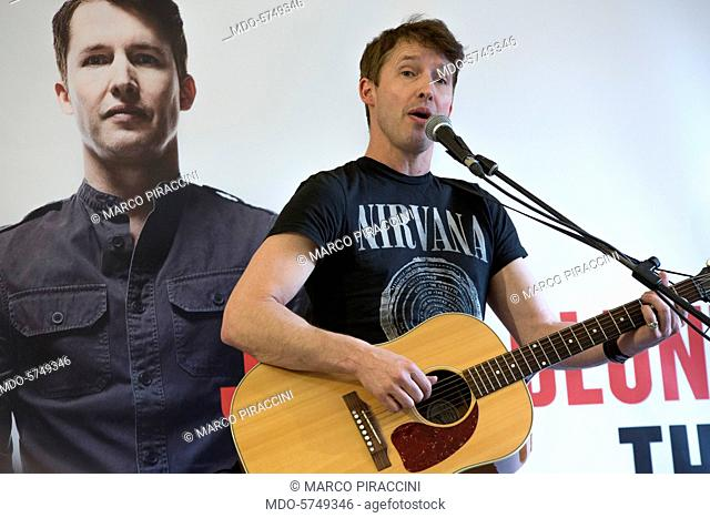 Singer-songwriter James Blunt (James Hillier Blount) presenting at Mondadori Store in Piazza del Duomo his new album The Afterlove released on 24 March