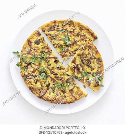 Farinata ai porcini, finferli e pioppini (unleavened chickpea bread with mushrooms, Italy)